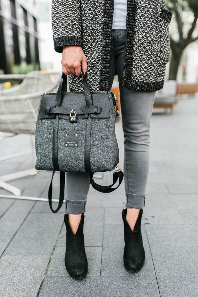 Casual outfit | black mini jetsetter bag | black booties | Petite Fashion Blogger Lady in Violet