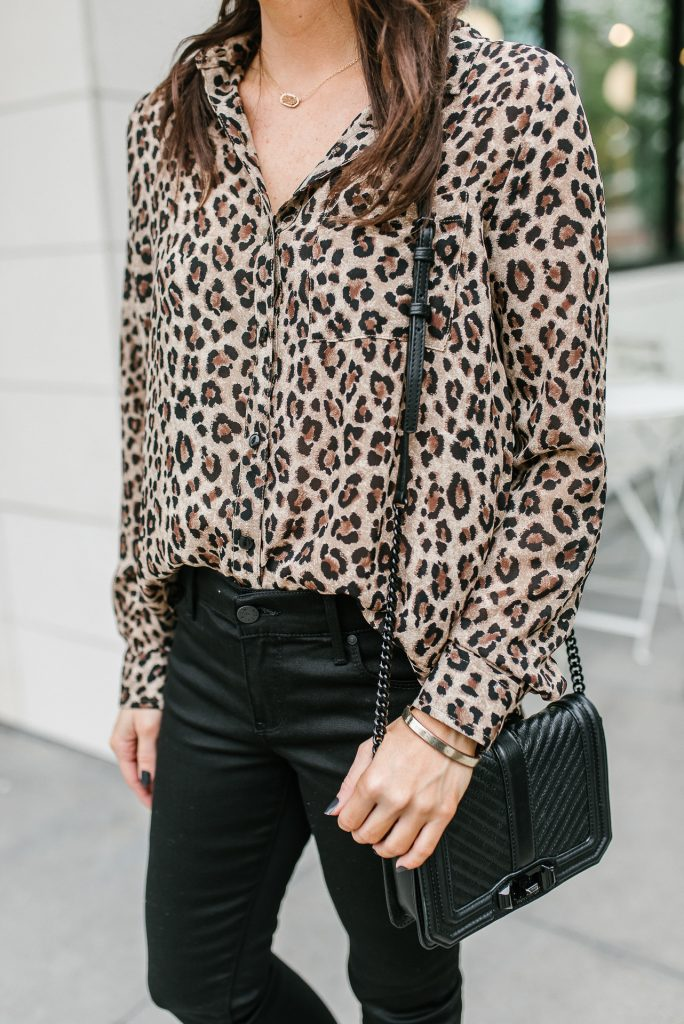 fall outfit | leopard blouse under 50 | black quilted crossbody bag | Houston Fashion Blogger Lady in Violet