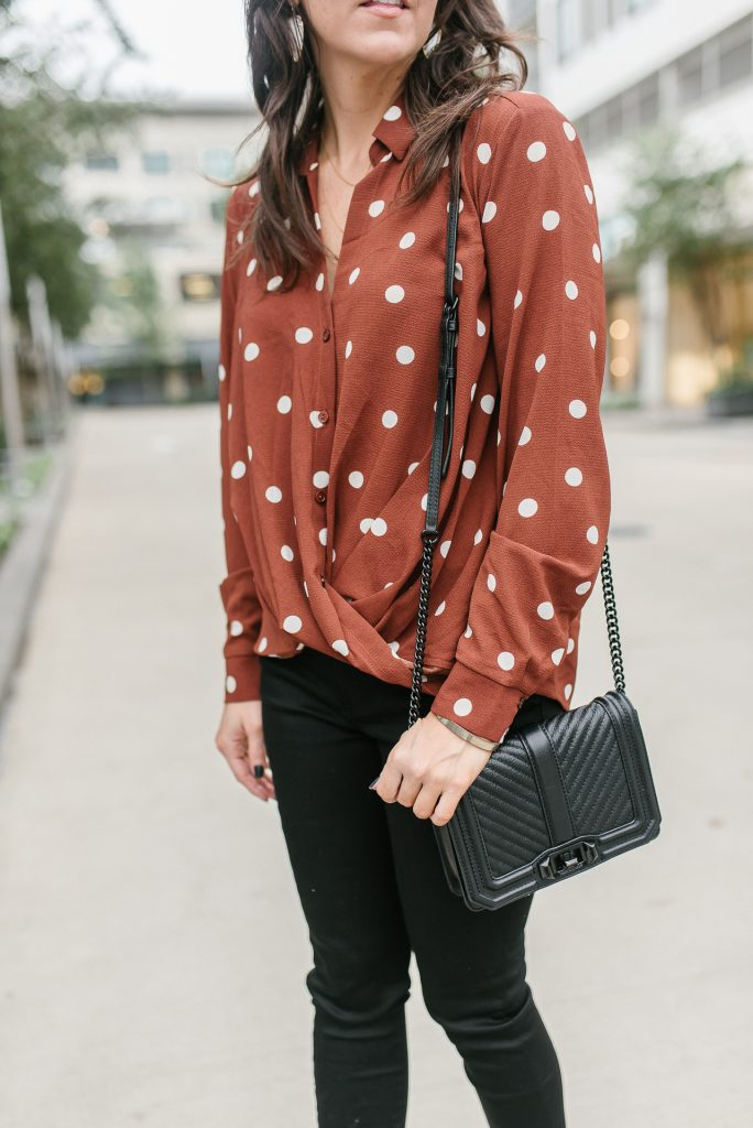 fall outfit | polka dot top | black quilted crossbody bag | Houston Fashion Blog Lady in Violet