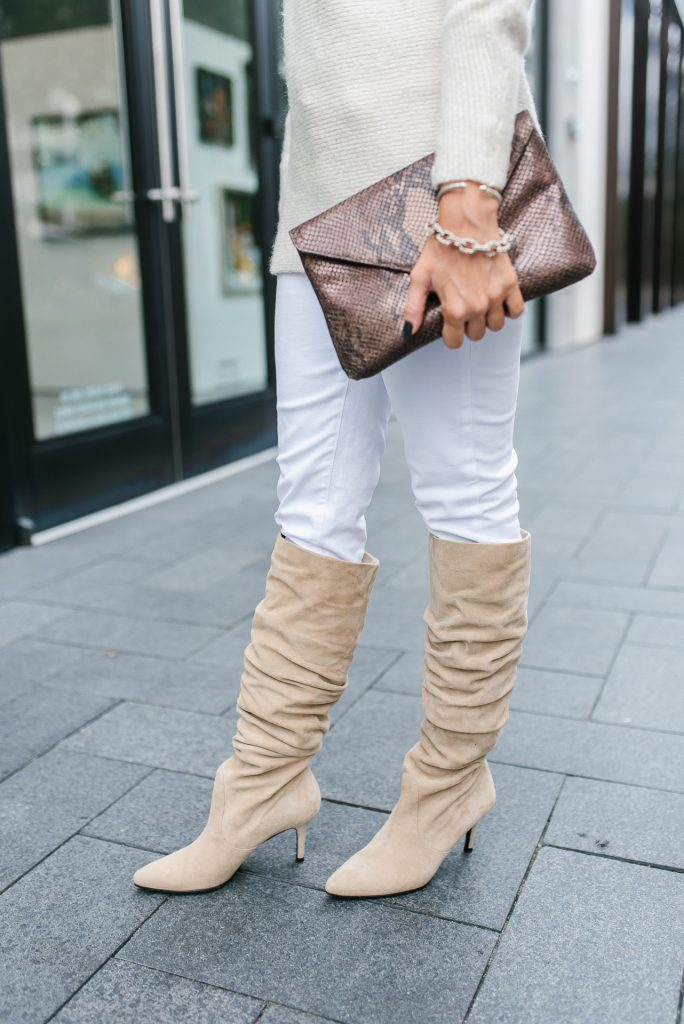 winter outfit | taupe slouchy boots stuart weitzman | python clutch | Houston Fashion Blogger Lady in Violet