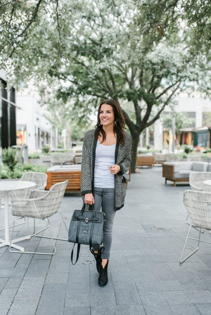 casual fall outfit | gray cardigan | gray jeans | Petite Fashion Blogger Lady in Violet