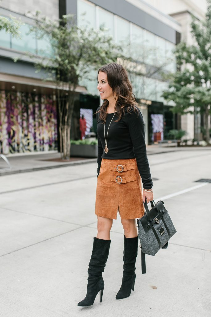 fall fashion | suede skirt | black tall boots | Houston Fashion Blogger Lady in Violet