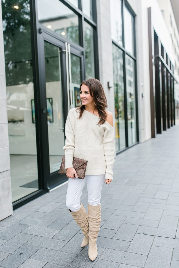 Fall outfit | monochromatic outfit | taupe suede boots | Petite Fashion Blogger Lady in Violet