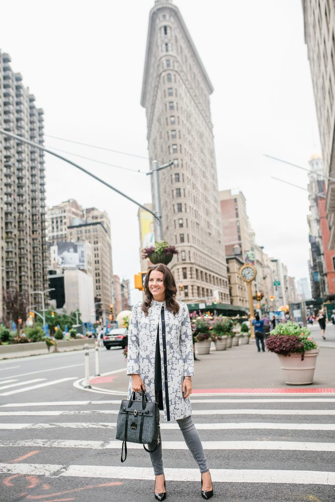 winter outfit | floral coat | henri bendel jetsetter bag | gray jeans | Houston Fashion Blogger Lady in Violet