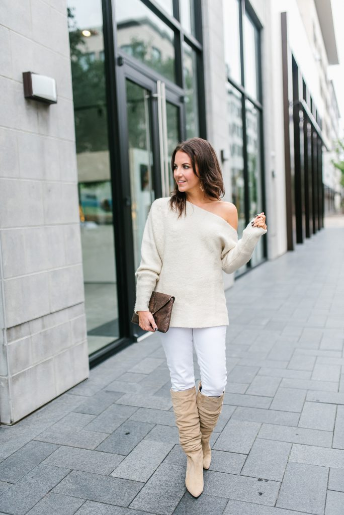 casual fall outfit | ivory one shoulder sweater | white jeans | Petite Fashion Blogger Lady in Violet