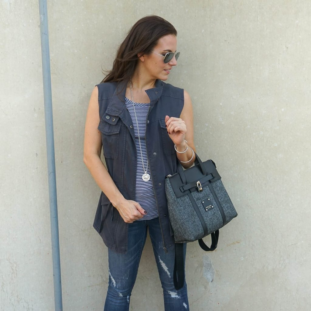 casual outfit | gray vest | distressed jeans | Houston Fashion Blogger Lady in Violet