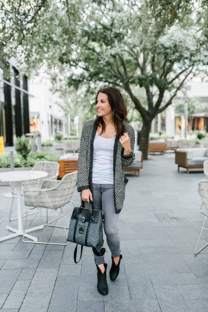 fall outfit | gray cardigan | black booties | Houston Fashion Blogger Lady in Violet