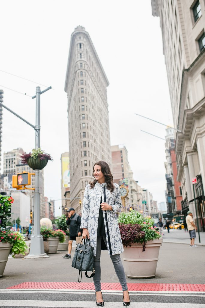 fall outfit | gray floral coat | gray jeans | flat iron nyc blogger photo | Houston Fashion Blogger Lady in Violet