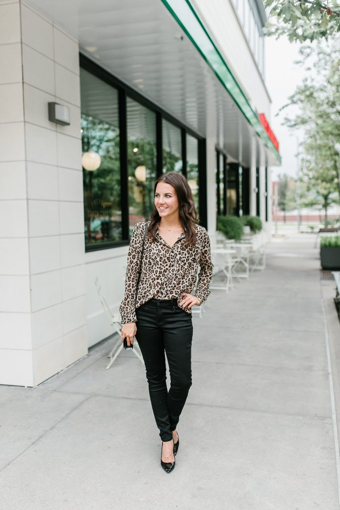 fall outfit | leopard blouse | black jeans | Petite Fashion Blogger Lady in Violet