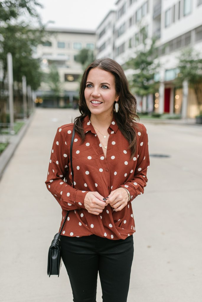 fall outfit | polka dot blouse | gold necklaces | Houston Fashion Blogger Lady in Violet
