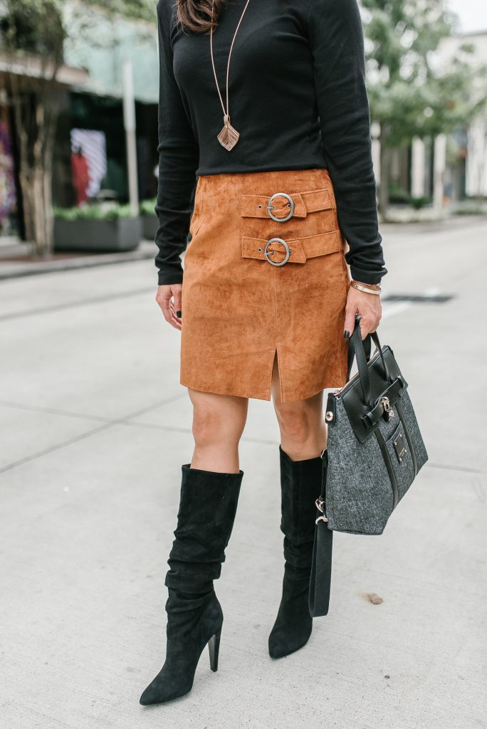 winter outfit | black suede boots | brown suede mini skirt | Houston Fashion Blogger Lady in Violet