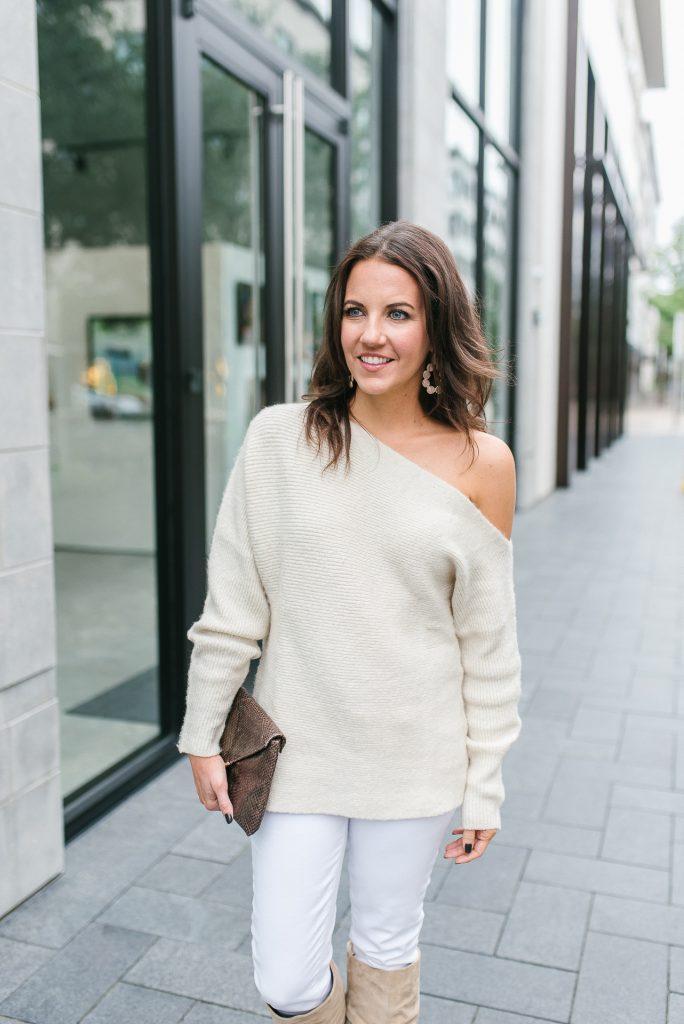 winter outfit | ivory one shoulder sweater | jemma sands majorca earrings | Houston Fashion Blogger Lady in Violet