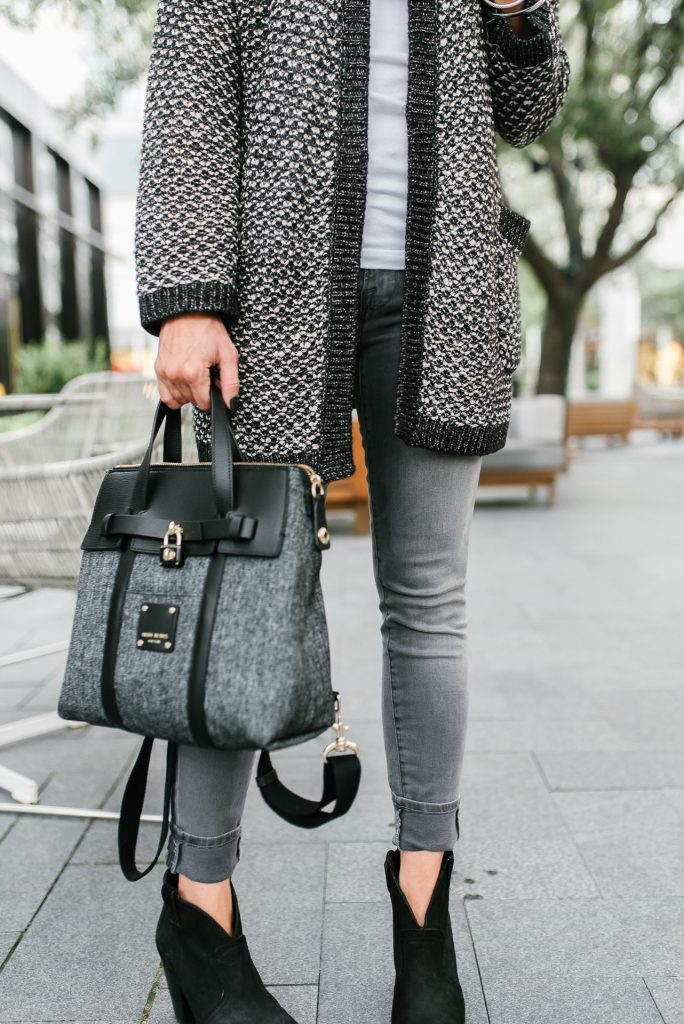 fall outfit | gray skinny jeans | henri bendel jetsetter bag | Houston Fashion Blogger Lady in Violet