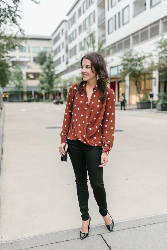 fall casual outfit | polka dot blouse | black jeans | Houston Fashion Blogger Lady in Violet