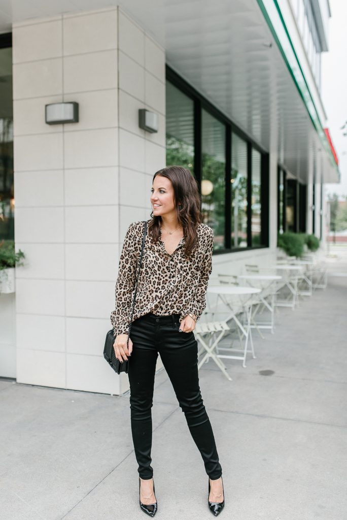 fall casual outfit with heels | leopard print top | black jeans | Houston Fashion Blogger Lady in Violet