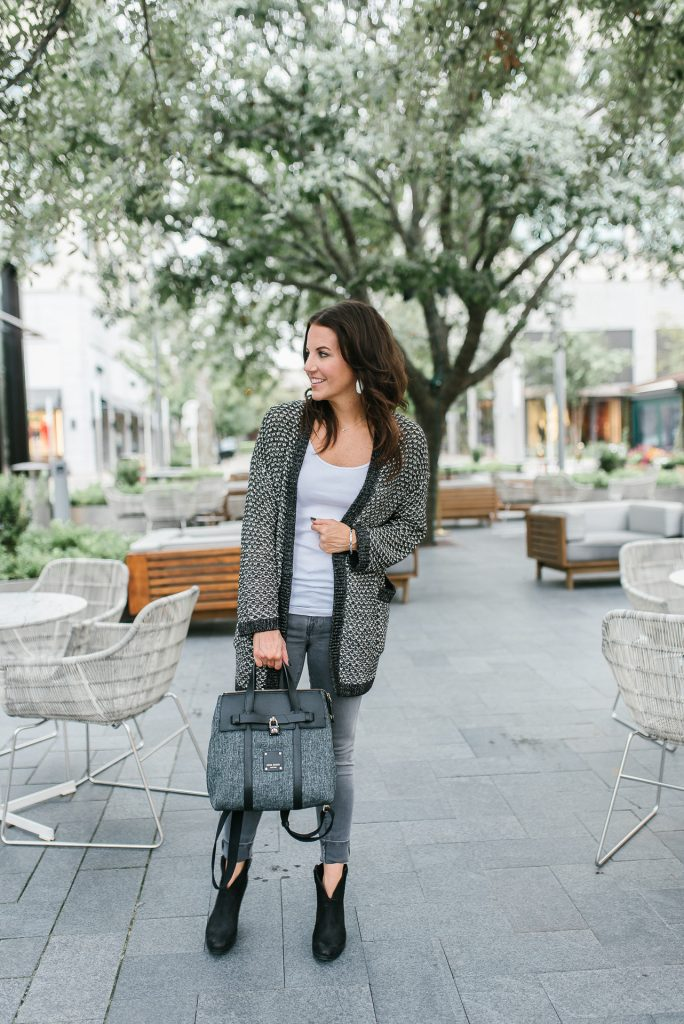 Fall outfit | gray cardigan | gray jeans | Houston Fashion Blogger Lady in Violet