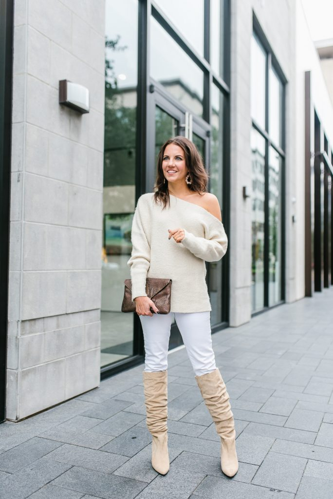 fall outfit | ivory one shoulder sweater | stuart weitzman boots | Houston Fashion Blogger Lady in Violet