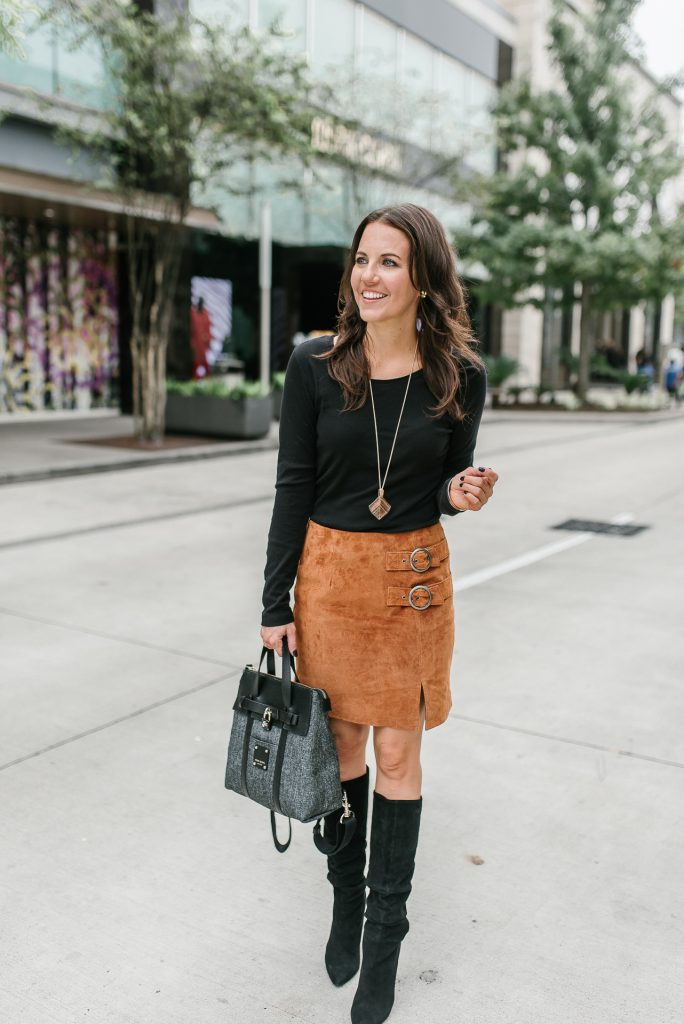 Fall outfit | suede skirt | black boots | henri bendel bag | Houston Fashion Blogger Lady in Violet