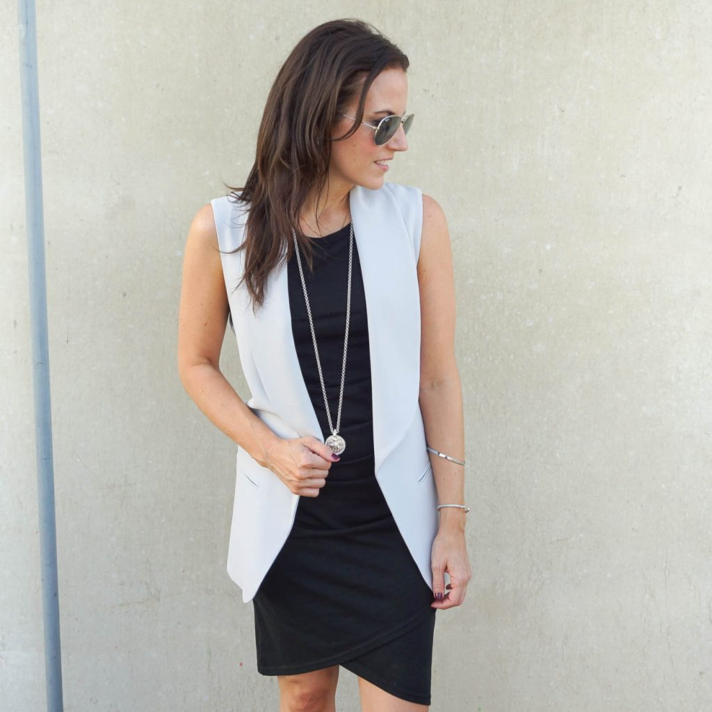 work outfit | black dress | gray vest | Houston Fashion Blogger Lady in Violet