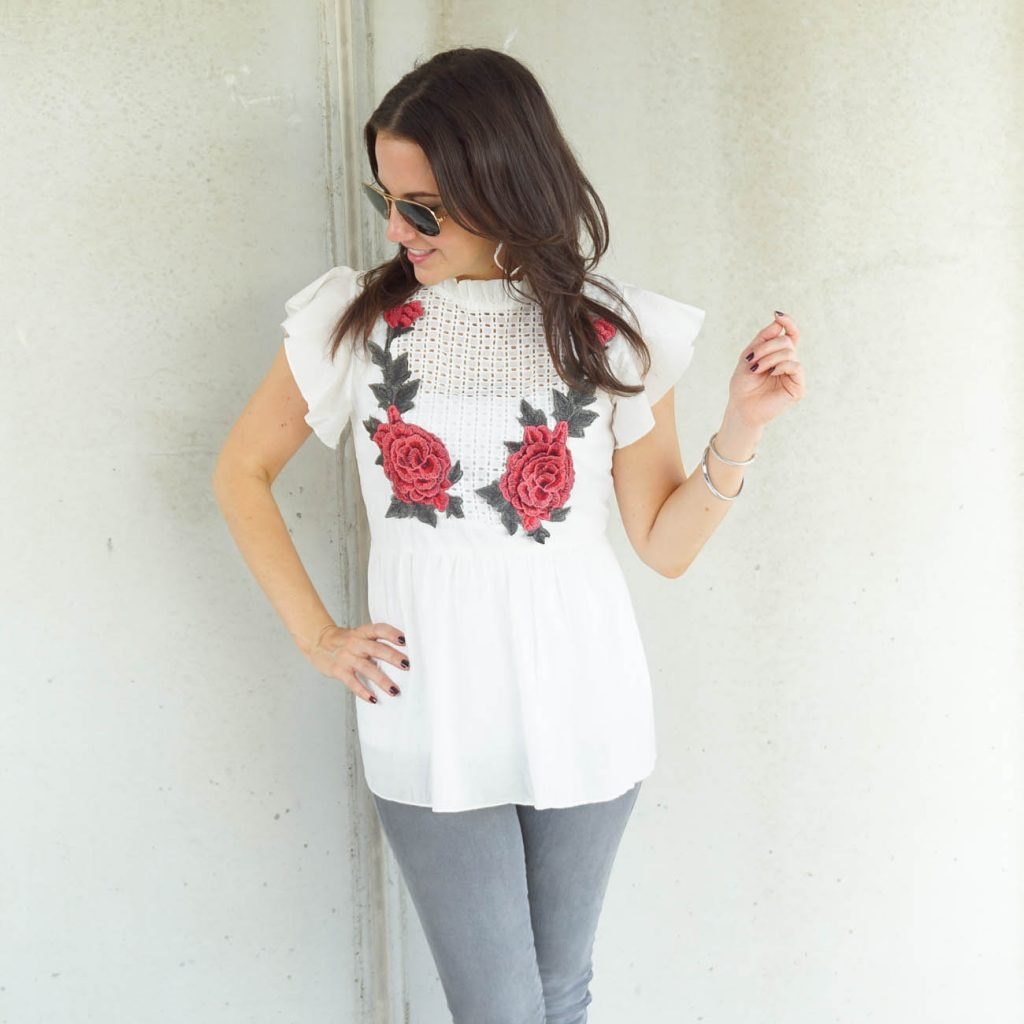 Casual outfit | rose embroidered top | gray jeans | Houston Fashion Blogger Lady in Violet