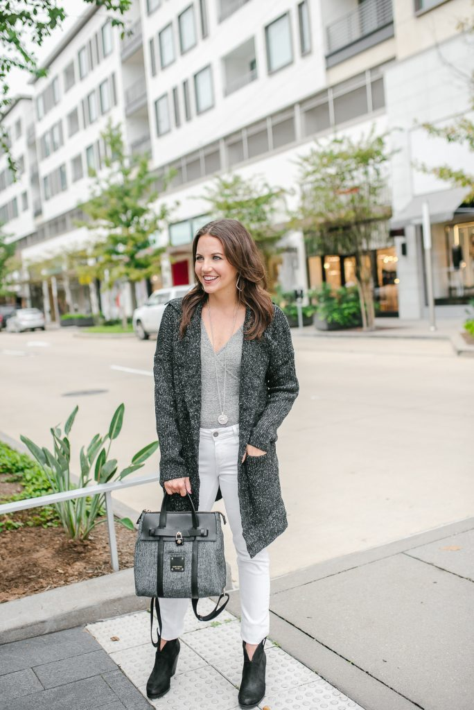 Fall outfit | dark gray cardigan | white jeans | Top Houston Fashion Blogger Lady in Violet