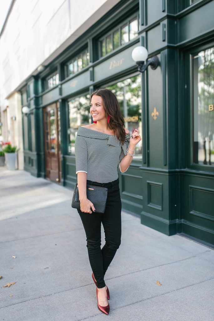 fall outfit | off the shoulder top | red metallic heels | Popular Houston Fashion Blogger Lady in Violet