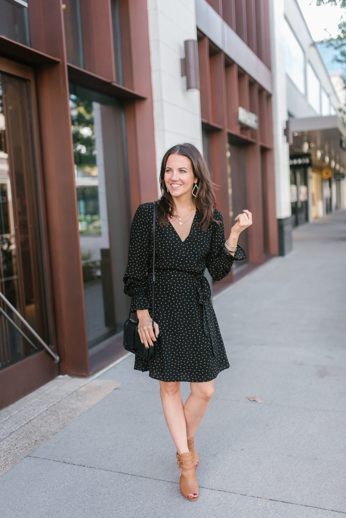 fall outfit | polka dot dress | peep toe booties | Houston Fashion Blogger Lady in Violet