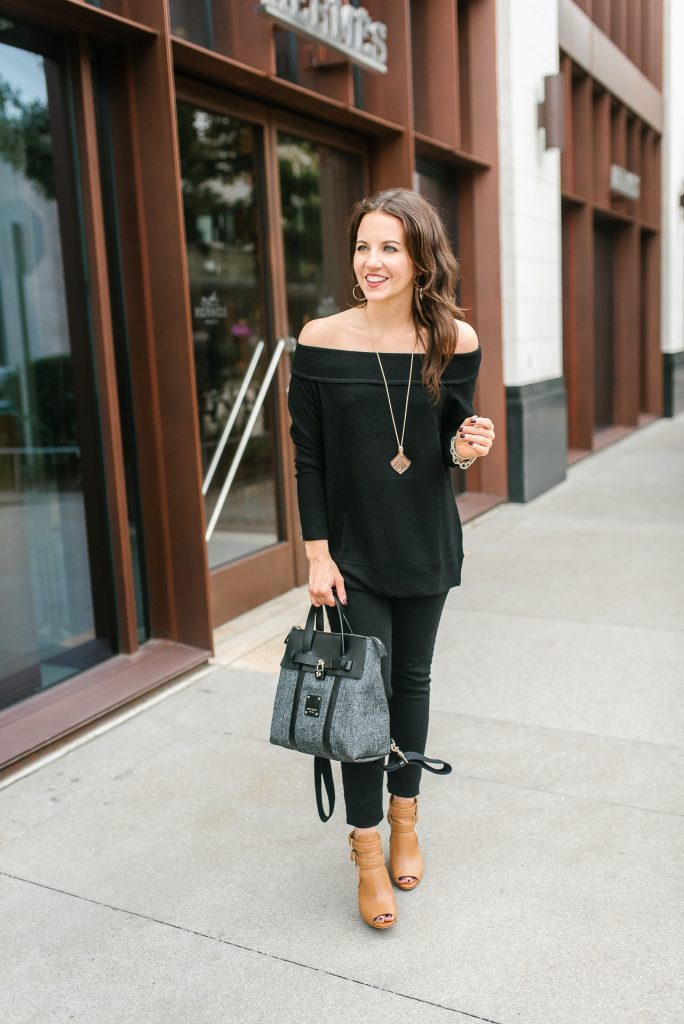 thanksgiving outfit idea | black off the shoulder sweater | brown peep toe booties | Houston Fashion Blogger Lady in Violet