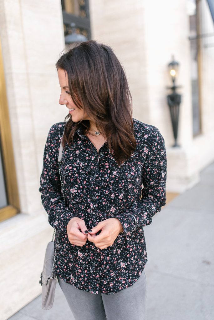 fall outfit   dark floral top   gray crossbody bag   Houston Fashion Blogger Lady in Violet