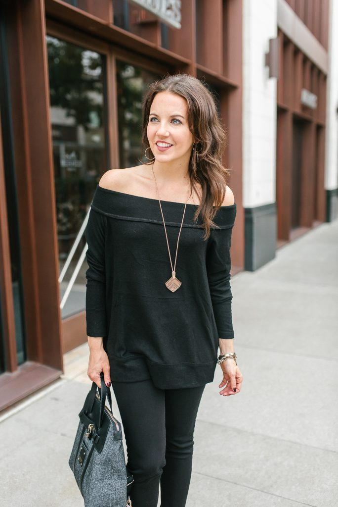 Fall outfit | rose gold necklace | black off the shoulder sweater | Houston Fashion Blogger Lady in Violet