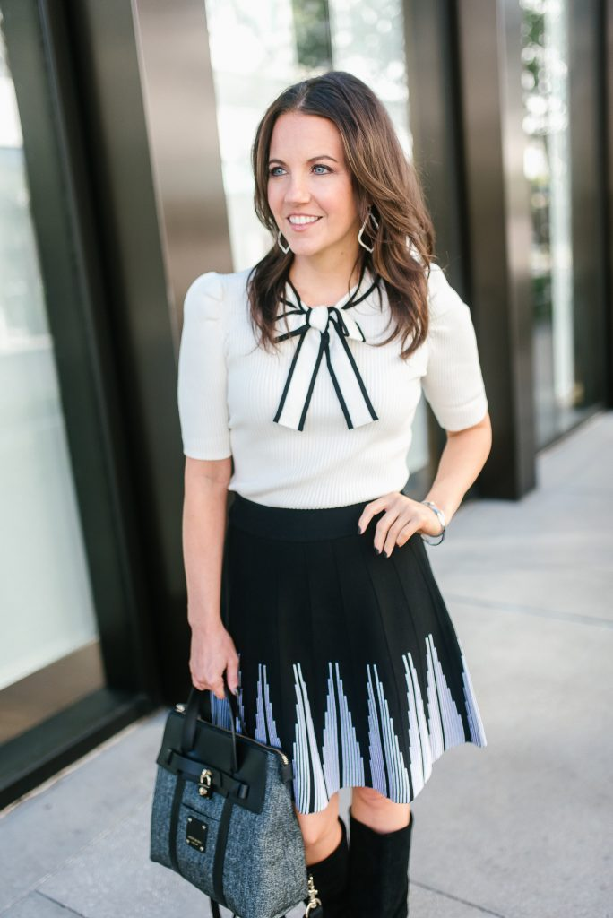 fall outfit | workwear | bow tie sweater top | black skirt | Popular Houston Fashion Blogger Lady in Violet