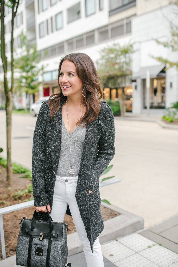winter outfit | casual coatigan | gray bodysuit | Popular Houston Fashion Blogger Lady in Violet