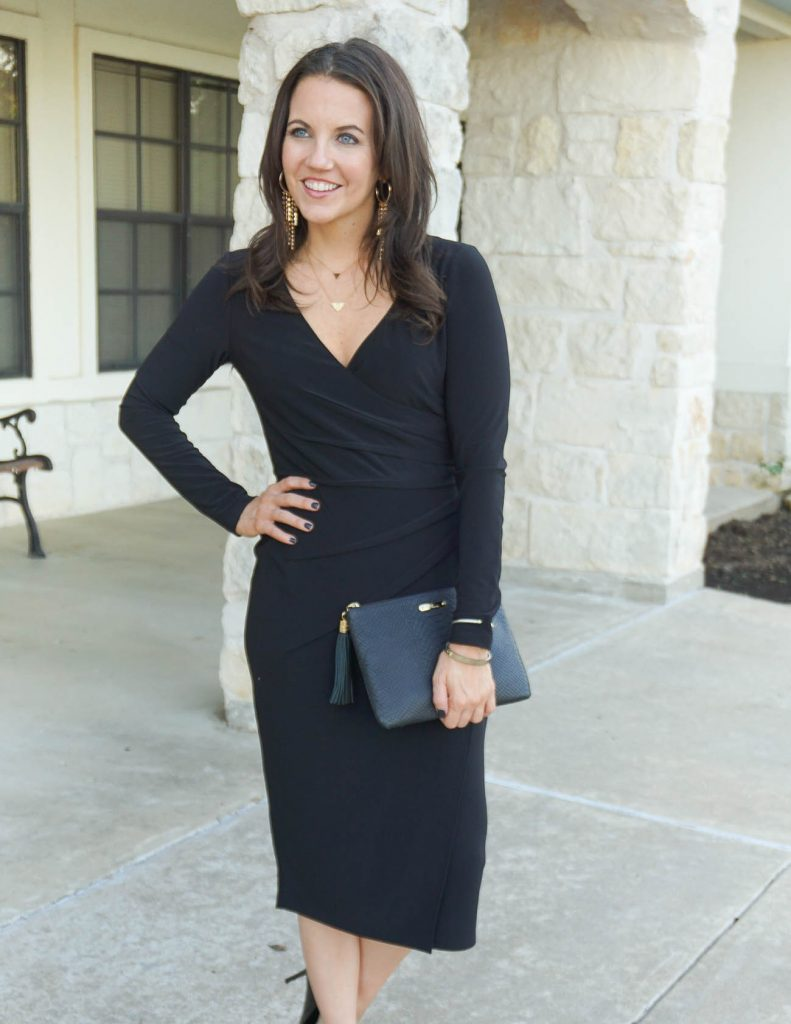 workwear | black holiday dress | gorjana necklaces | Petite Fashion Blogger Lady in Violet