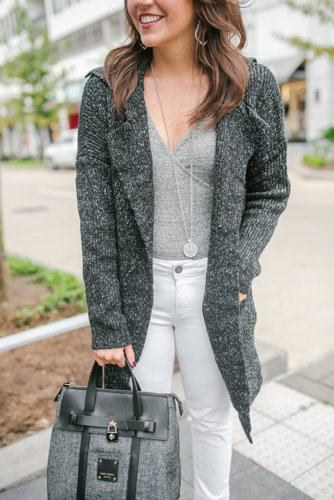 casual winter outfit | sweater coatigan | gray bodysuit | julie vos necklace | Popular Petite Fashion Blogger Lady in Violet