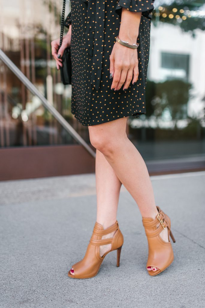 fall outfit | brown peep toe booties | gold bracelets | Popular Petite Fashion Blogger Lady in Violet