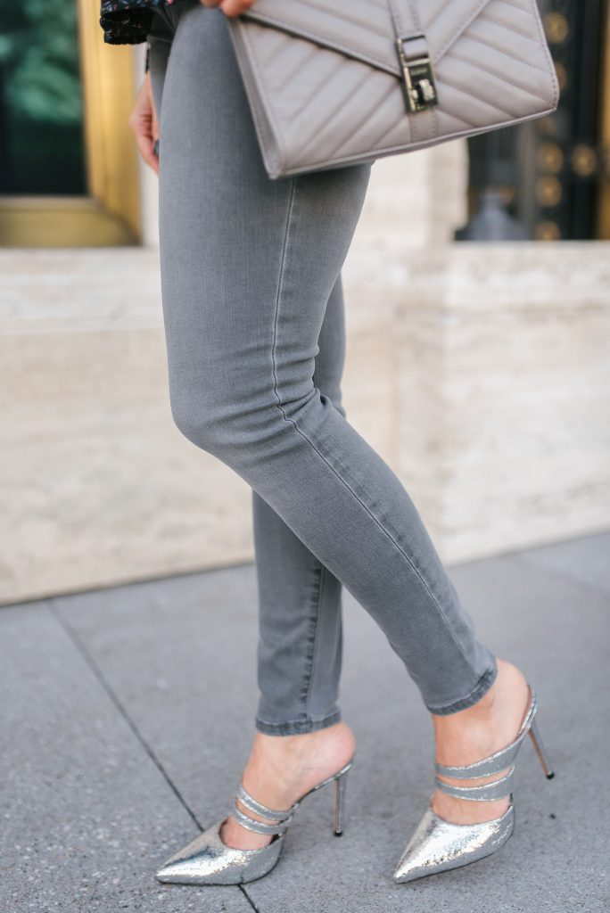 fall outfit | silver metallic heels | gray skinny jeans | Petite Fashion Blogger Lady in Violet