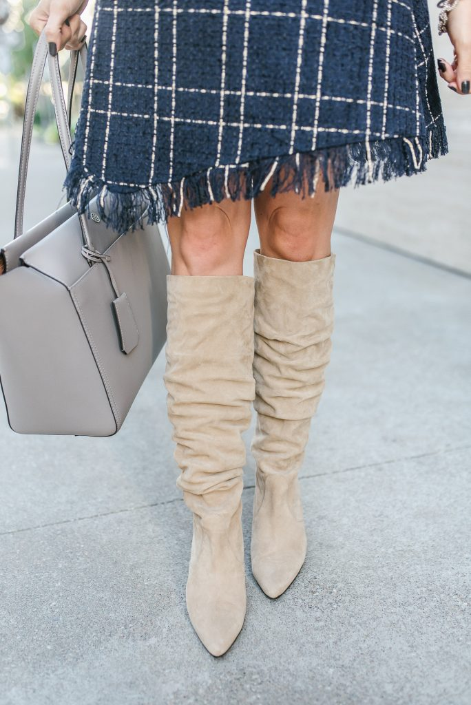 fall outfit | taupe slouchy boots | tory burch tote bag | Houston Fashion Blogger Lady in Violet