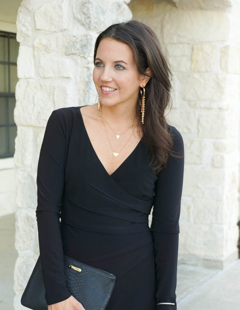 holiday outfit | gold statement earrings | black dress | Houston Fashion Blogger Lady in Violet