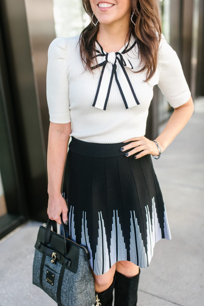 workwear | fall outfit | bow tie top | black flared skirt | Houston Fashion Blogger Lady in Violet