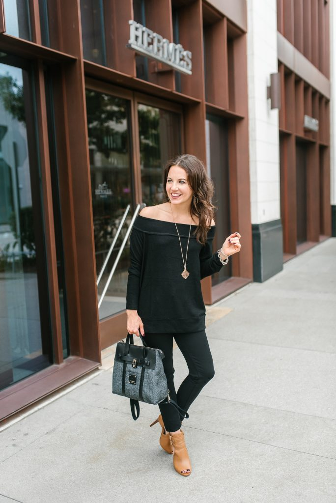 Casual outfit | black off the shoulder sweater | brown booties | Petite Fashion Blogger Lady in Violet