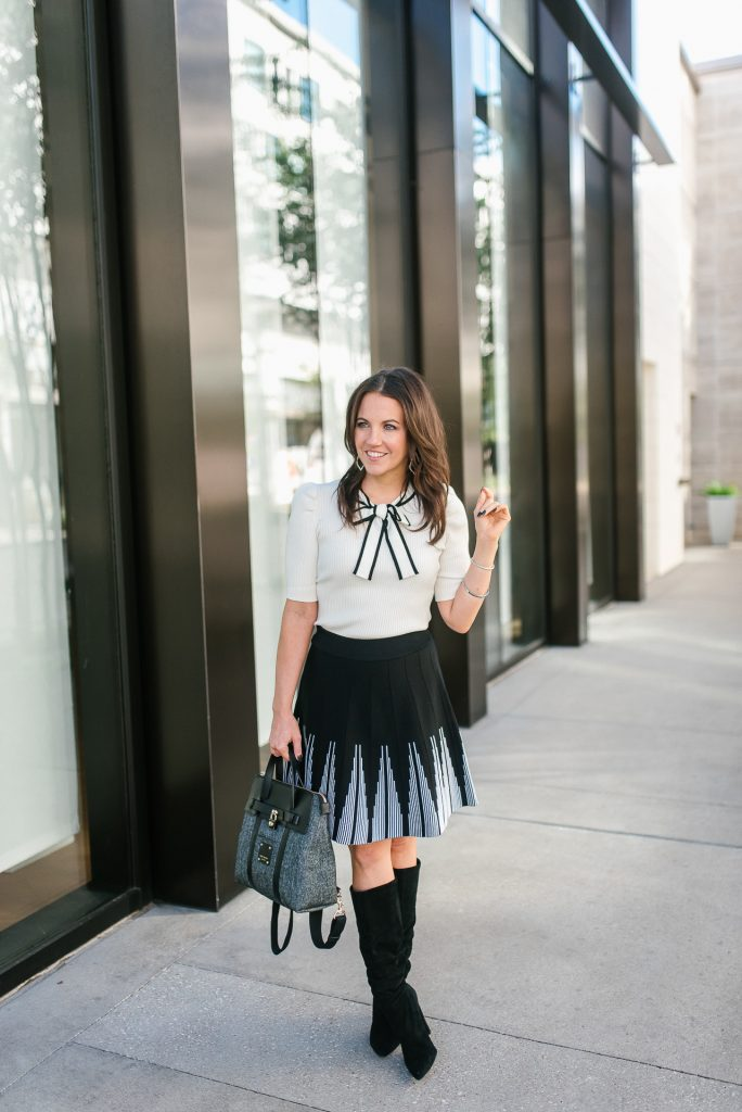 work outfit | bow tie sweater top | black skirt | Popular Petite Fashion Blogger Lady in Violet