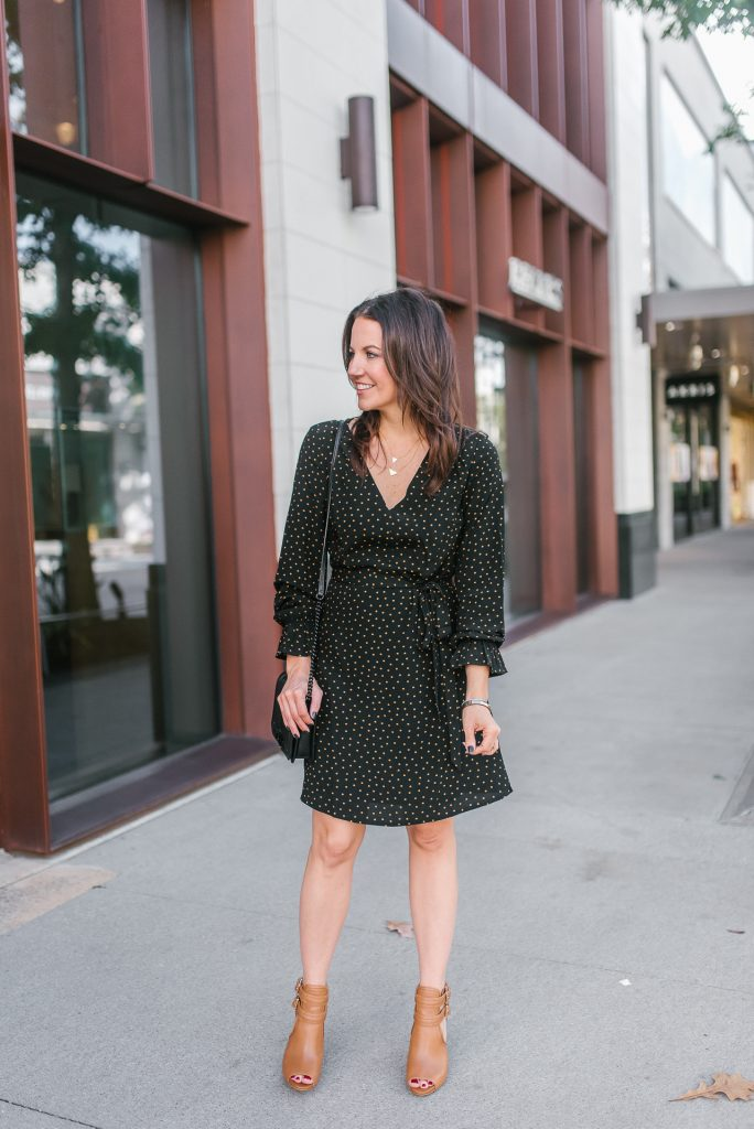 workwear | fall tiny dots dress | peep toe booties | Popular Houston Fashion Blogger Lady in Violet