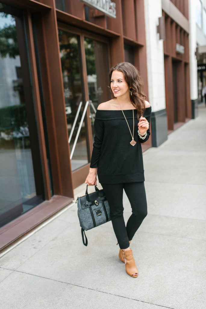 casual fall outfit | black ots sweater | black skinny jeans | Houston Fashion Blogger Lady in Violet