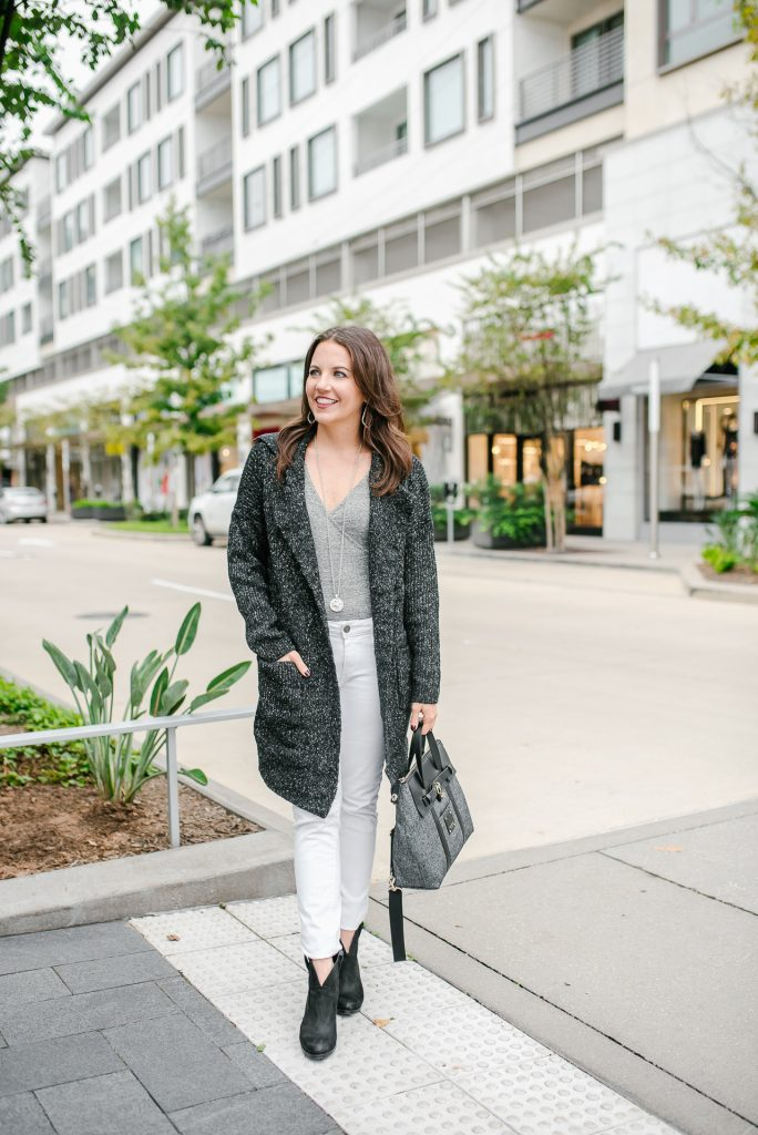casual winter outfit | dark gray cardigan | white skinny jeans | Petite Fashion Blogger Lady in Violet