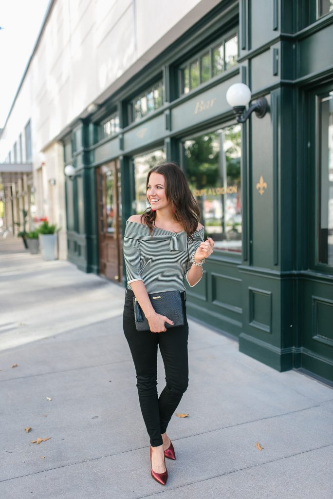 date night outfit | off the shoulder top | black skinny jeans | Popular Petite Fashion Blogger Lady in Violet