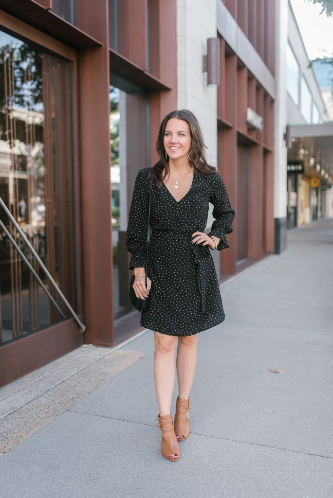 Fall outfit | workwear | black dress | brown booties | Top Houston Fashion Blogger Lady in Violet