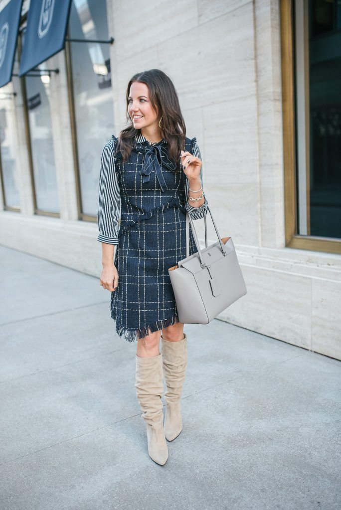 fall outfit | workwear | navy tweed dress | Houston Fashion Blogger Lady in Violet