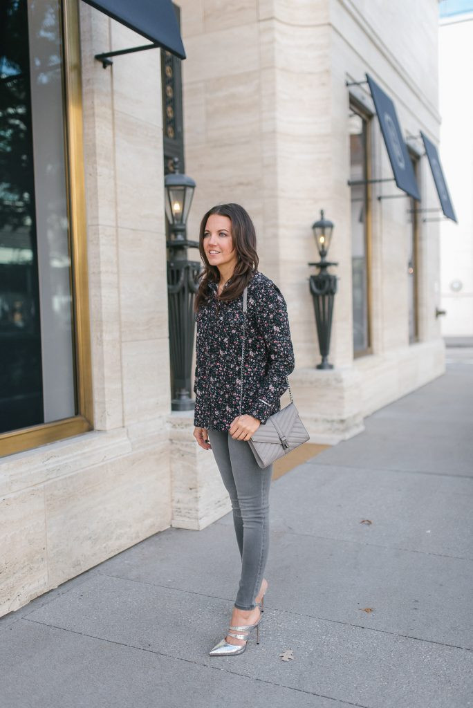 weekend outfit | silver metallic heels | floral button down top | Houston Fashion Blogger Lady in Violet