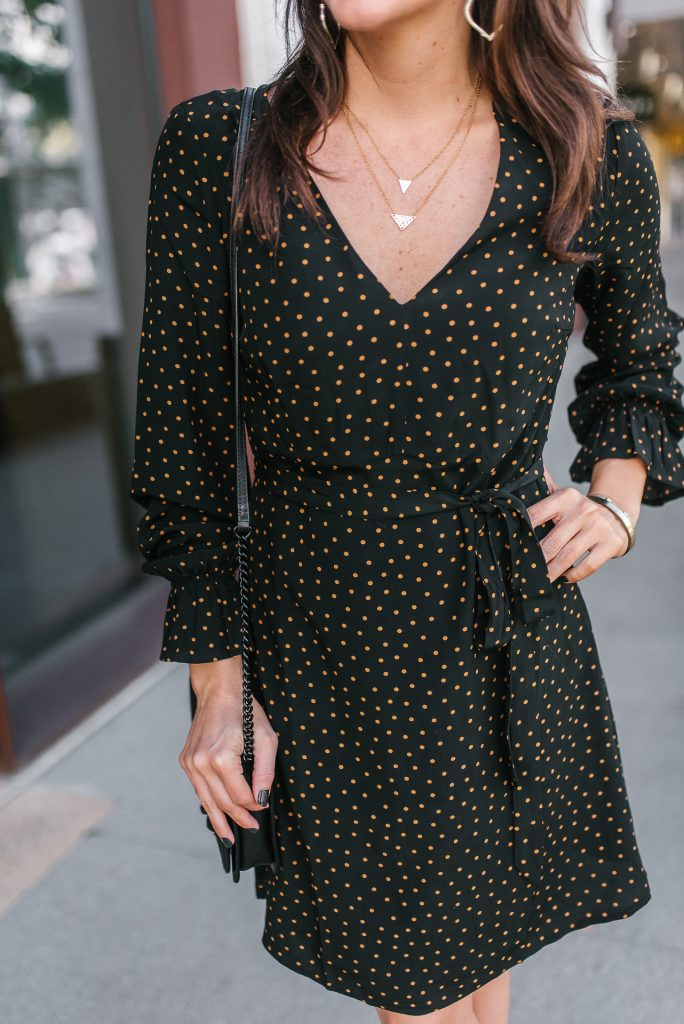 fall outfit | tiny dot black dress | gorjana necklace | Houston Fashion Blogger Lady in Violet