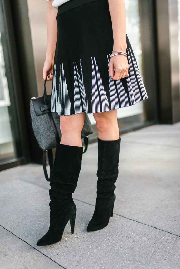 winter outfit | black flared skirt | black suede boots | Houston Fashion Blogger Lady in Violet